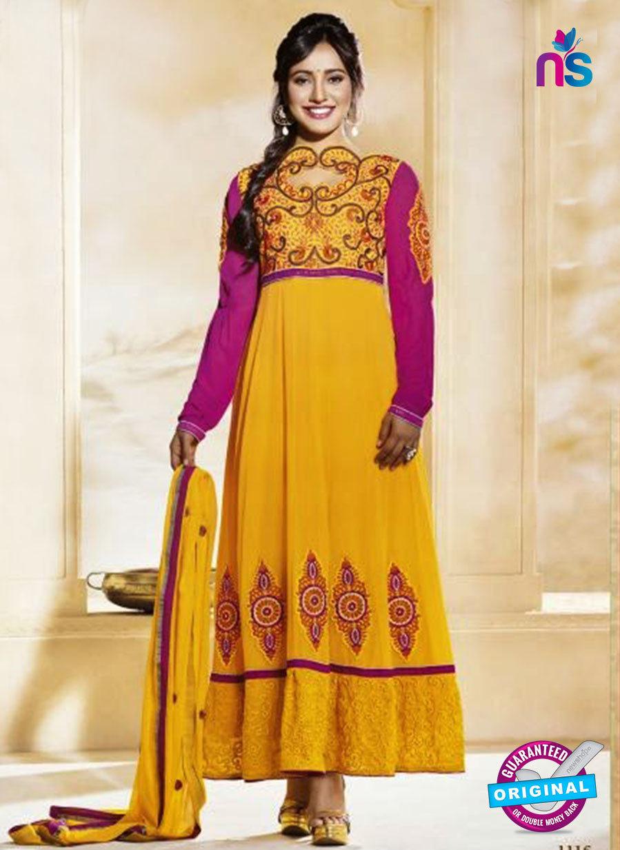 NS10590 Yellow and Pink Anarkali Suit
