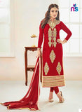 NS11236 Red and Beige Party Wear Georgette Straight Suit