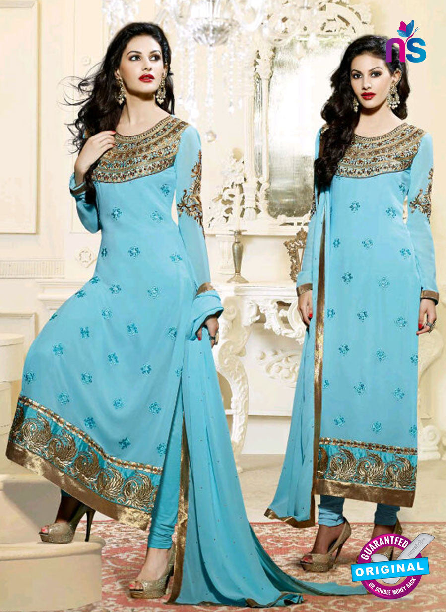 Fiona 11201 Sky Blue And Golden Straight Suit