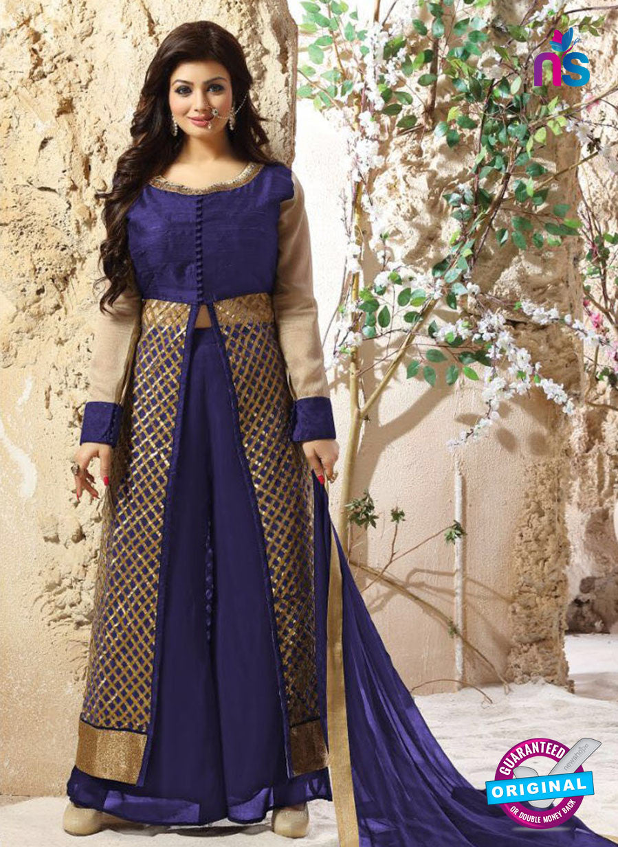 SC 12341 Blue and Golden Pure Silk Party Wear Plazzo Suit