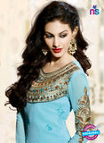 Fiona 11201 Sky Blue And Golden Straight Suit Online