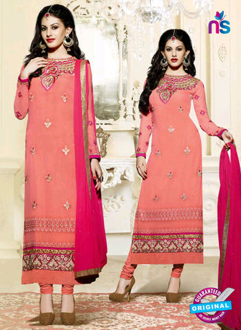 Fiona 11202 Peach And Magenta Straight Suit