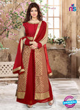 SC 12342 Red and Golden Pure Silk Party Wear Plazzo Suit