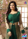 NS 12417 Green and Golden Pure Silk Party Wear Plazzo Suit