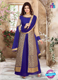 SC 12340 Royal Blue and Golden Pure Silk Party Wear Plazzo Suit