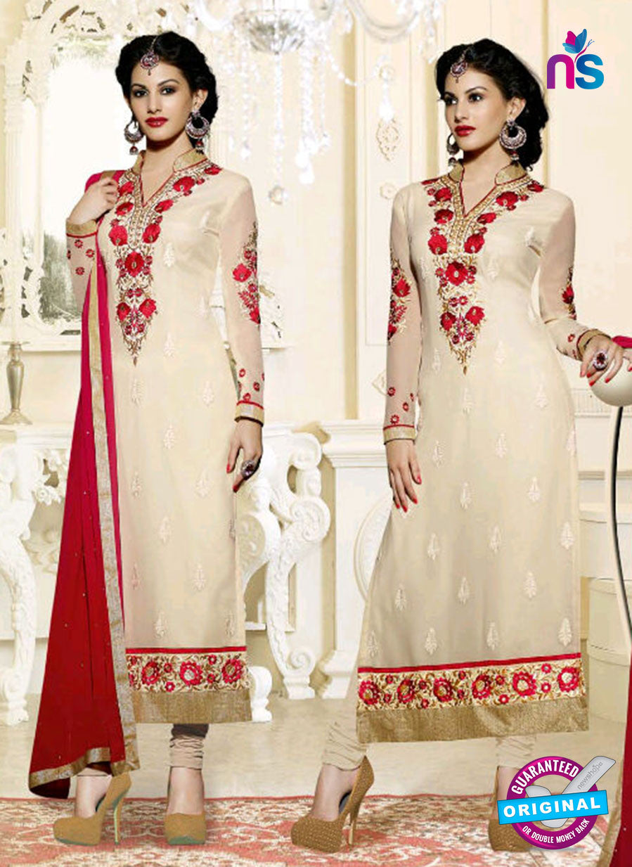 Fiona 11205 Beige And Red Straight Suit