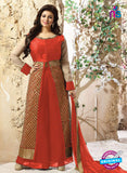 SC 12339 Orange and Golden Pure Silk Party Wear Plazzo Suit