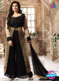 SC 12338 Black and Golden Pure Silk Party Wear Plazzo Suit