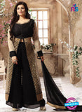 NS 12414 Black and Golden Pure Silk Party Wear Plazzo Suit