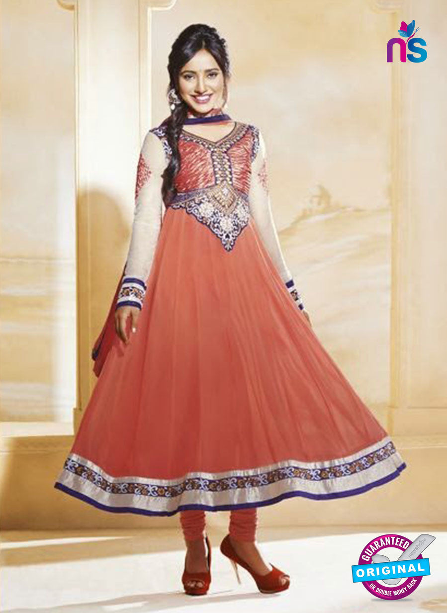 NS10591 Peach and Ivory Anarkali Suit