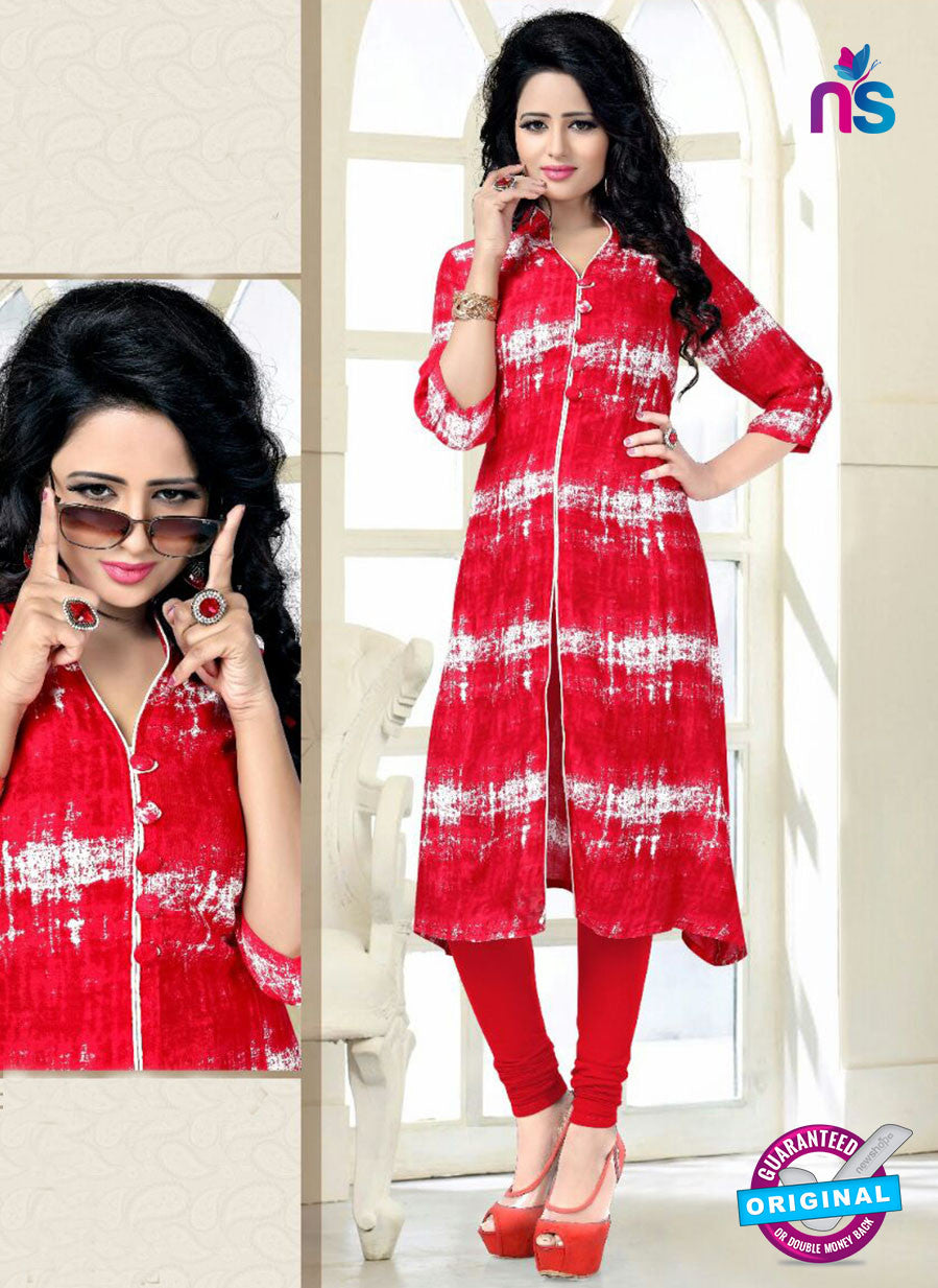 SC 14180 Red Rayon Fancy Formal Tunic
