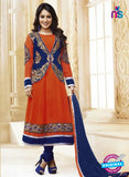 NS10593 Orange and Blue Anarkali Suit