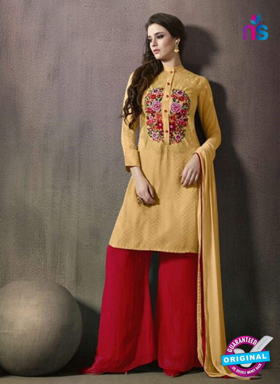 SC 14167 Yellow Jacquard Satin Plazo Suit