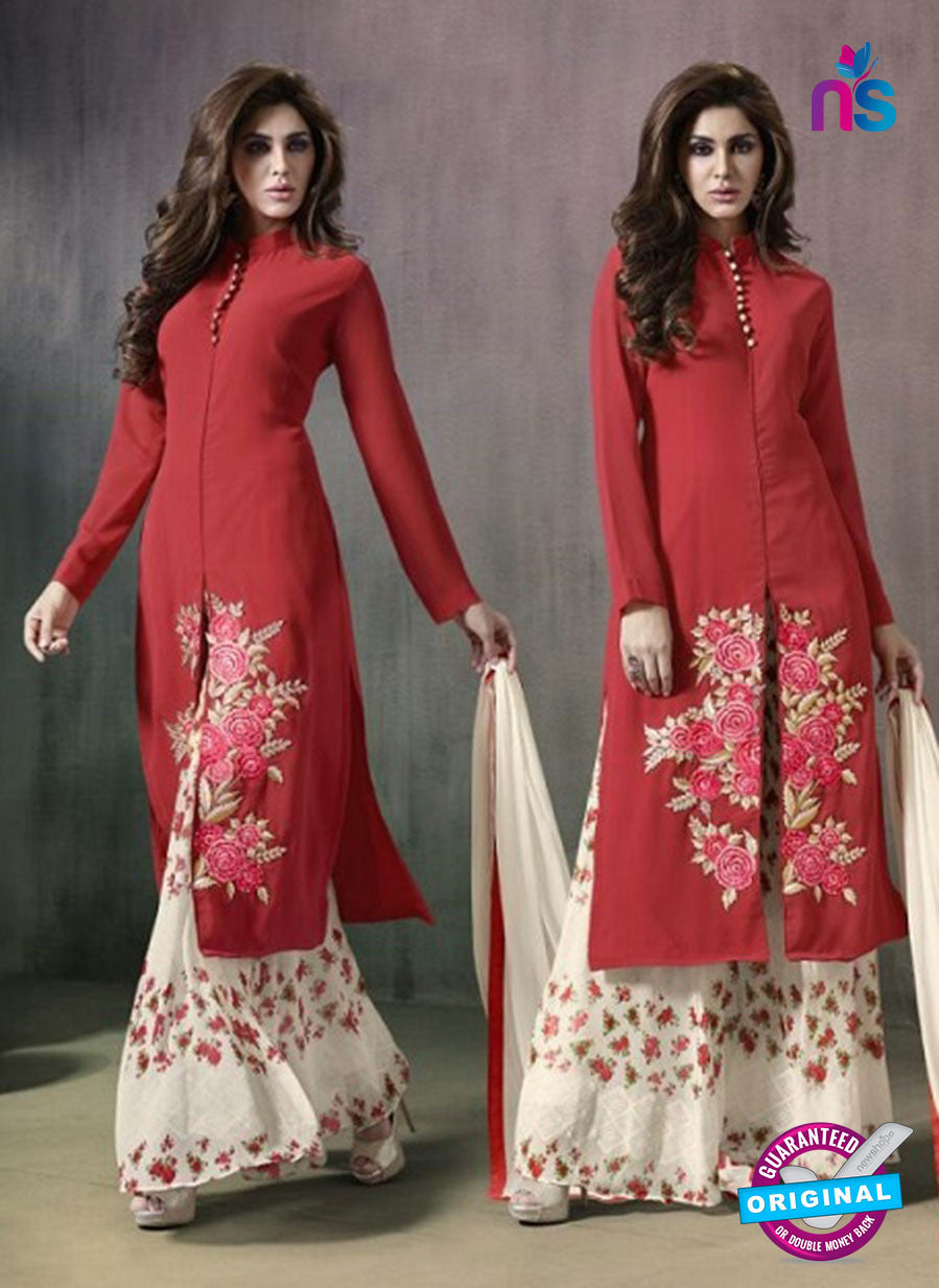 SC 14170 Red Georgette Plazo Suit