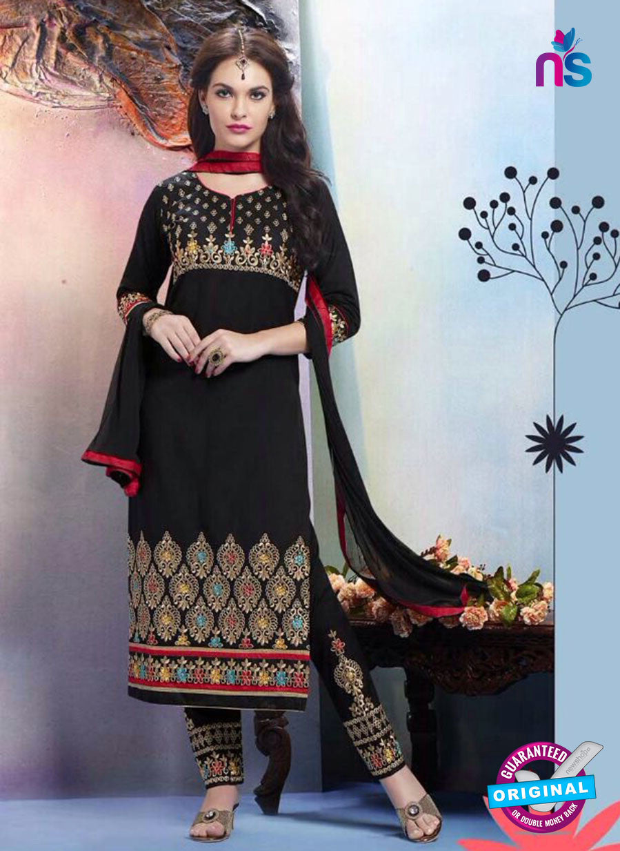 Buy NS11280  Black and Red Cotton Straight Suit Online