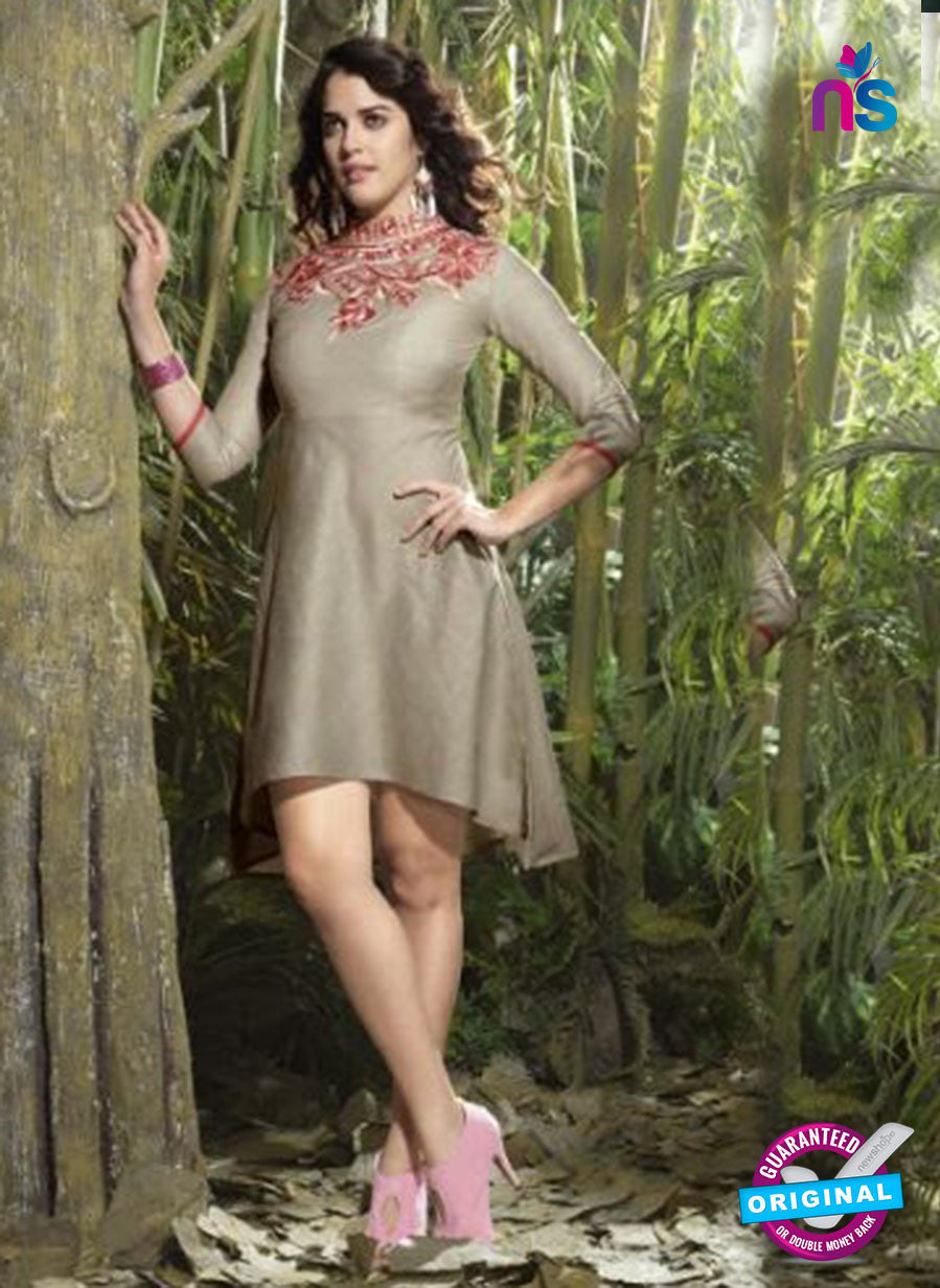 NS10513 Gray and Red Designer Linen Kurtis
