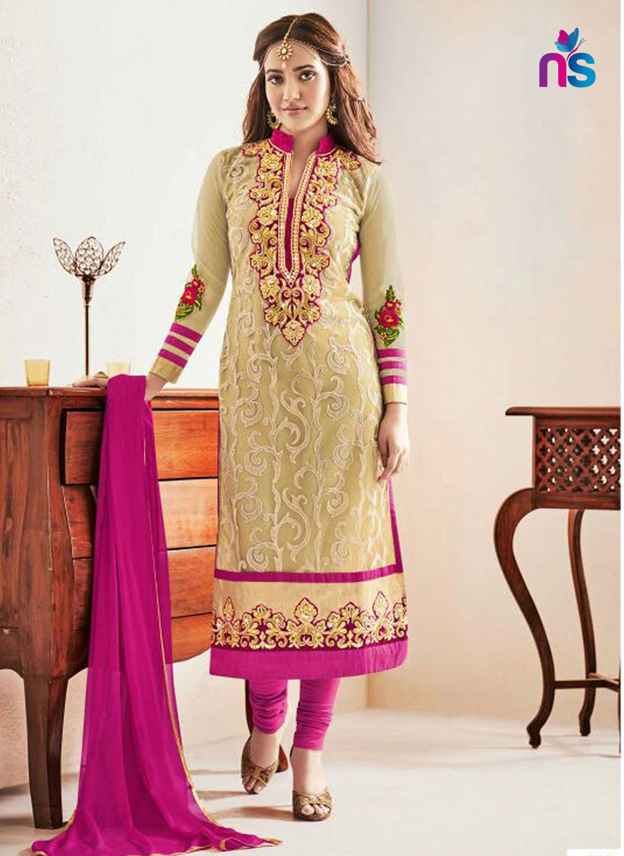 NS11237 Beige and Magenta Party Wear Georgette Straight Suit