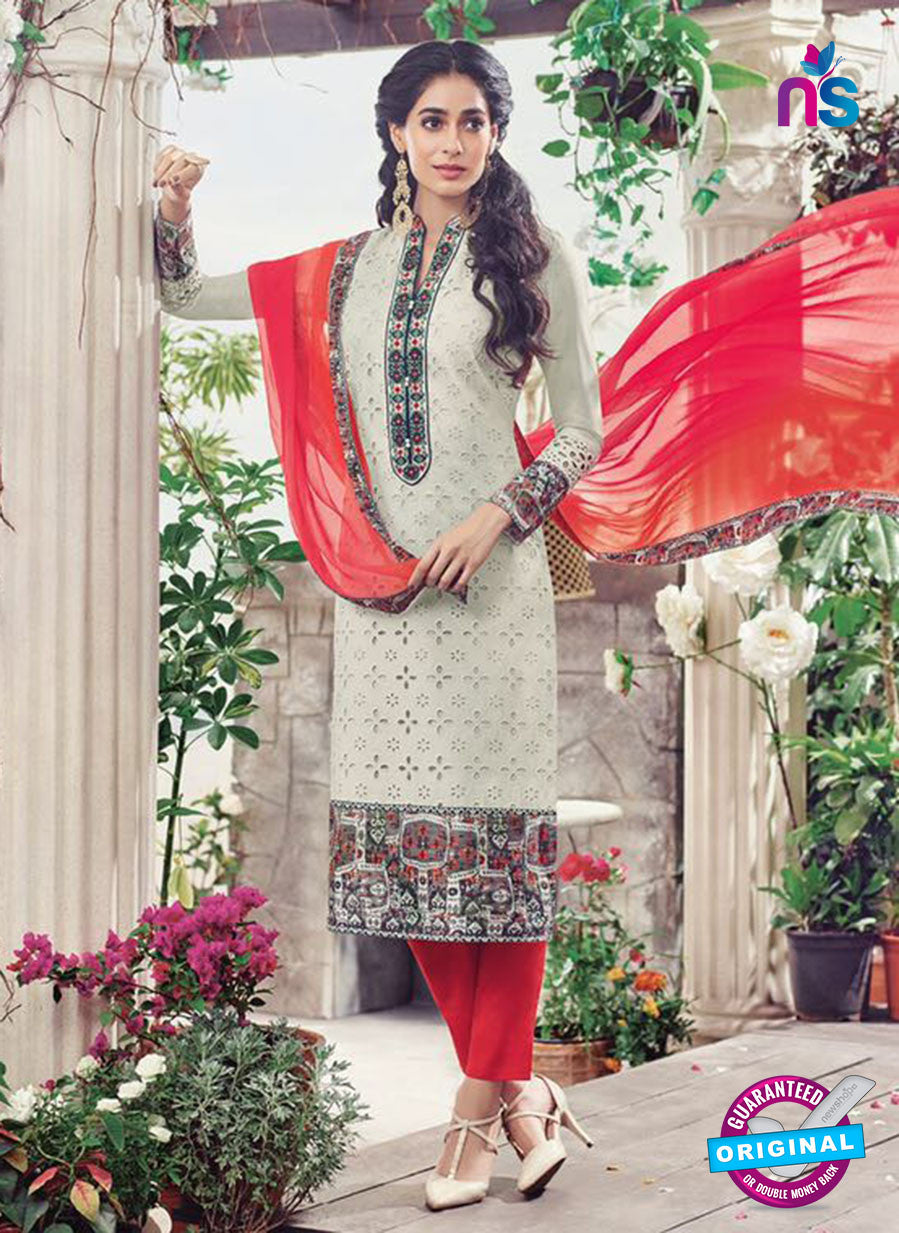 Omtex 1131 Red and Grey Lawn Cotton Party Wear Suit