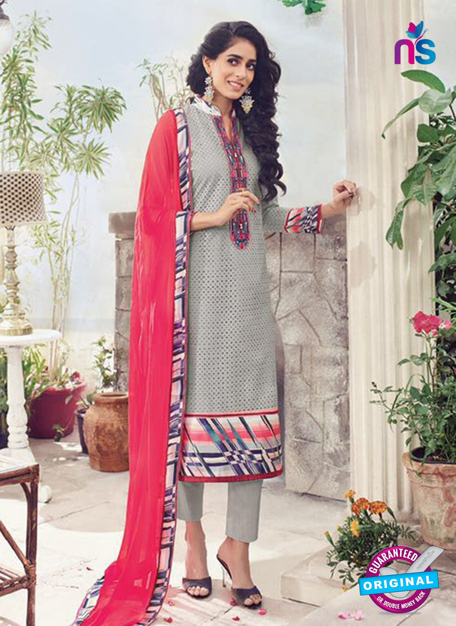 Omtex 1133 Red and Grey Lawn Cotton Party Wear Suit