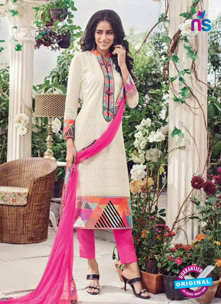 Omtex 1135 Pink and White Lawn Cotton Party Wear Suit
