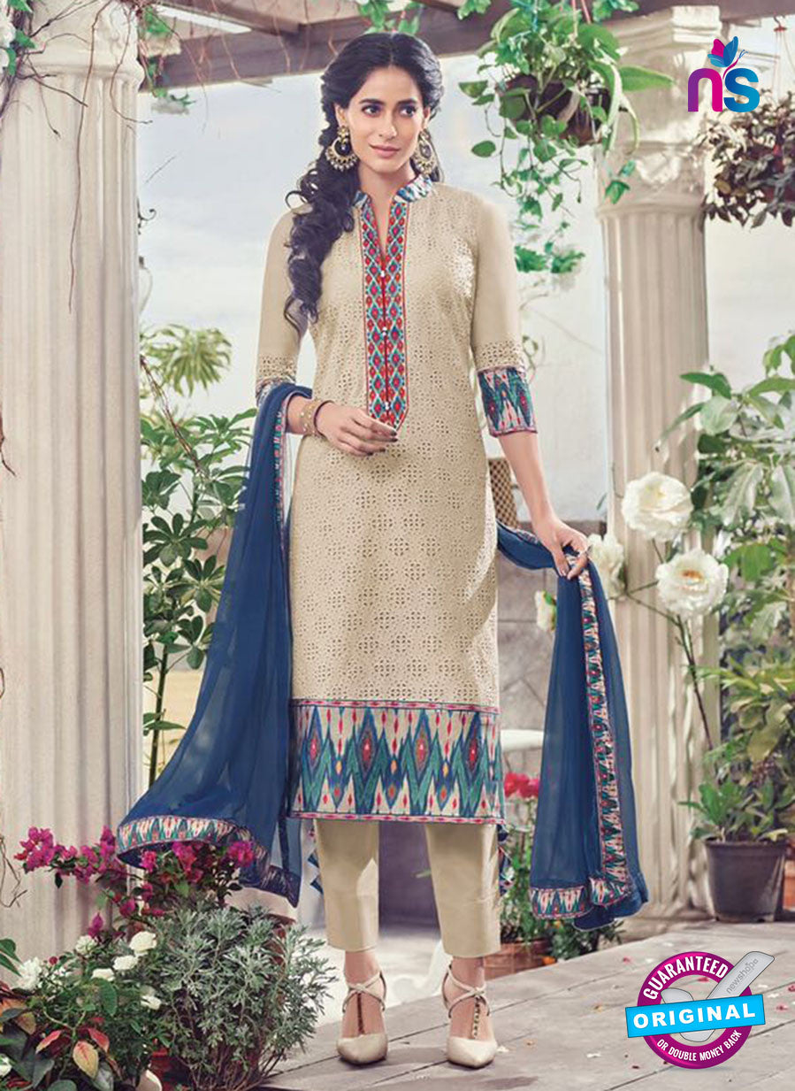 Omtex 1136 Beige and Blue Lawn Cotton Party Wear Suit