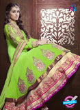 NS12054 Green and Magenta Anarkali Suit