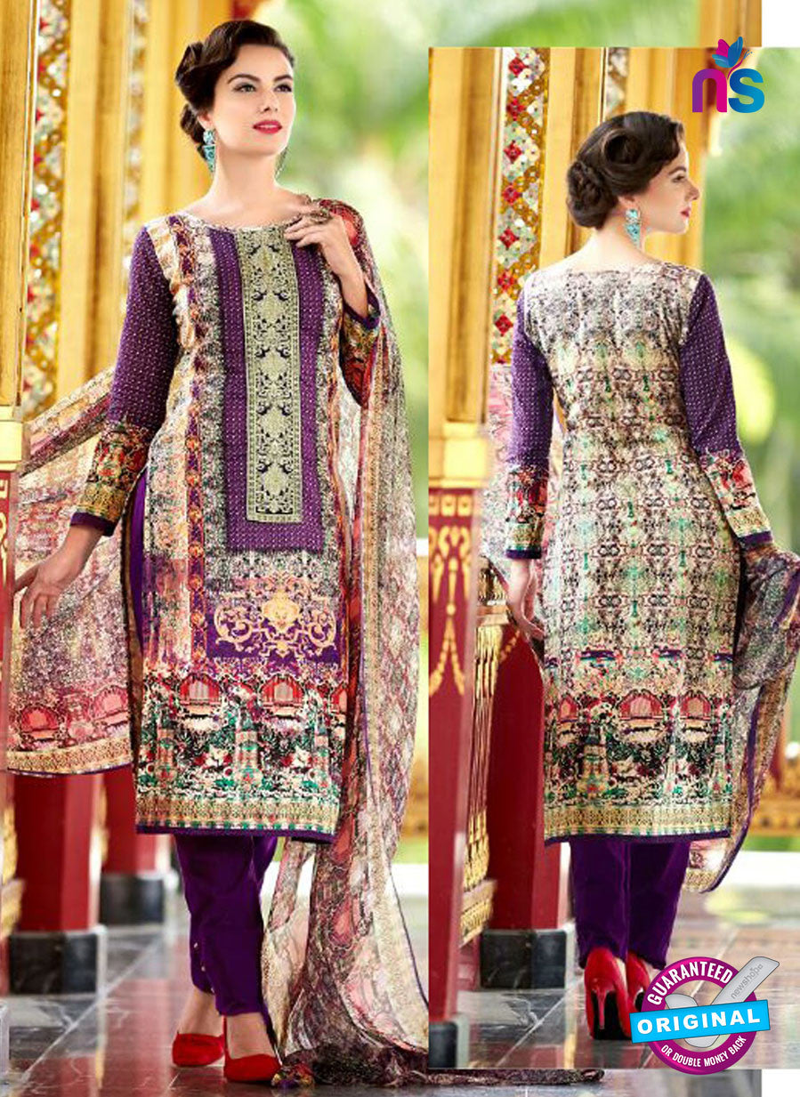 SC 12547 Purple and Muticolor Digital Printed Lawn Cotton with Embroidered Party Wear Pakistani Suit