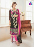NS11238 Black and LightMagenta Party Wear Georgette Straight Suit