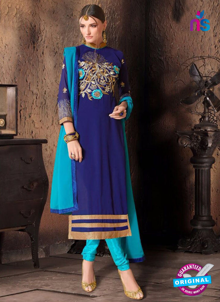 NS10476 Blue and Sky Blue Party Wear Faux Georgette Long Straight Suit