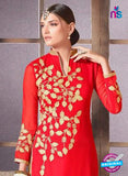 NS10477 Red and Brown Party Wear Faux Georgette Long Straight Suit