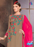 NS10479 Brown and Magenta Party Wear Faux Georgette Long Straight Suit
