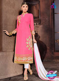 NS10480 Pink and White Party Wear Faux Georgette Long Straight Suit