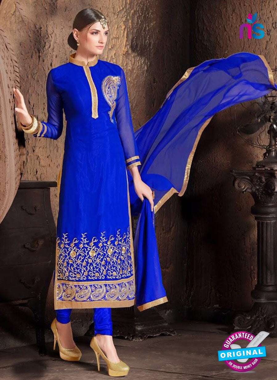 NS10481 Blue and Beige Party Wear Faux Georgette Long Straight Suit