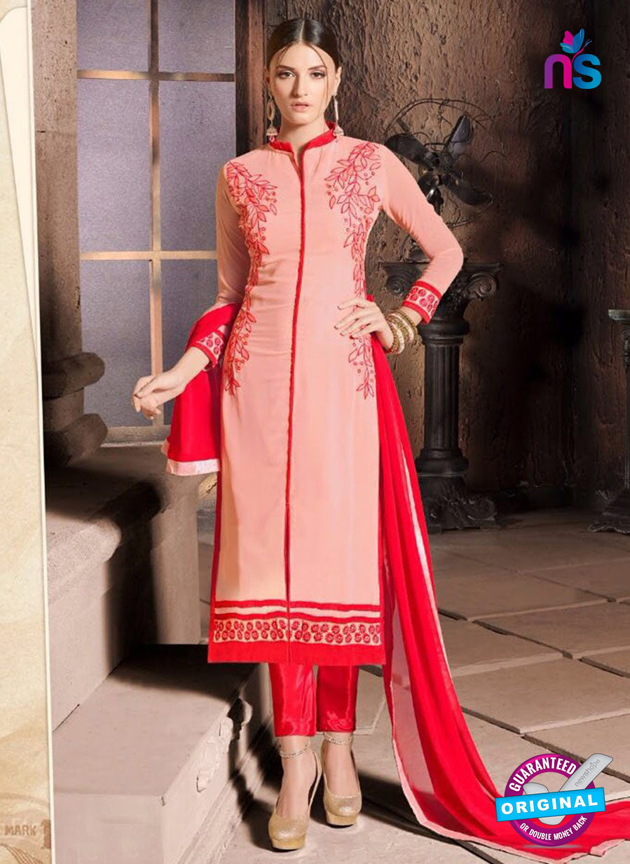 NS10483 Red and Peach Party Wear Faux Georgette Long Straight Suit
