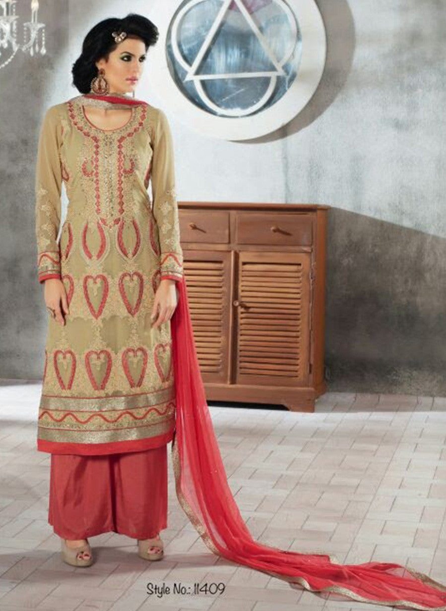 Rivaa 11409 Beige & Peach Color Georgette Designer Suit