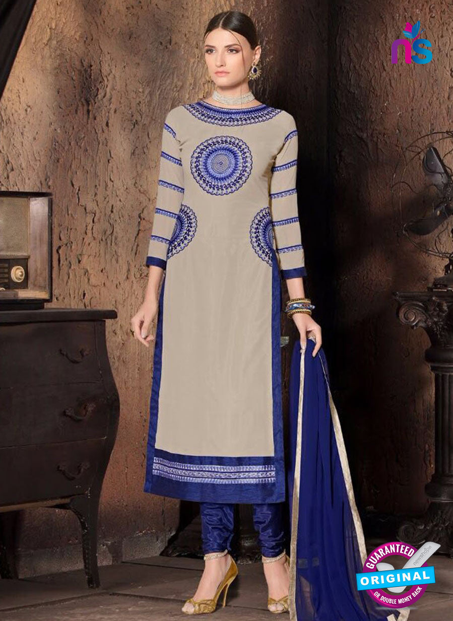NS10484 Gray and Blue Party Wear Faux Georgette Long Straight Suit
