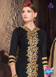 NS10485 Black and Beige Party Wear faux Georgette Long Straight Suit