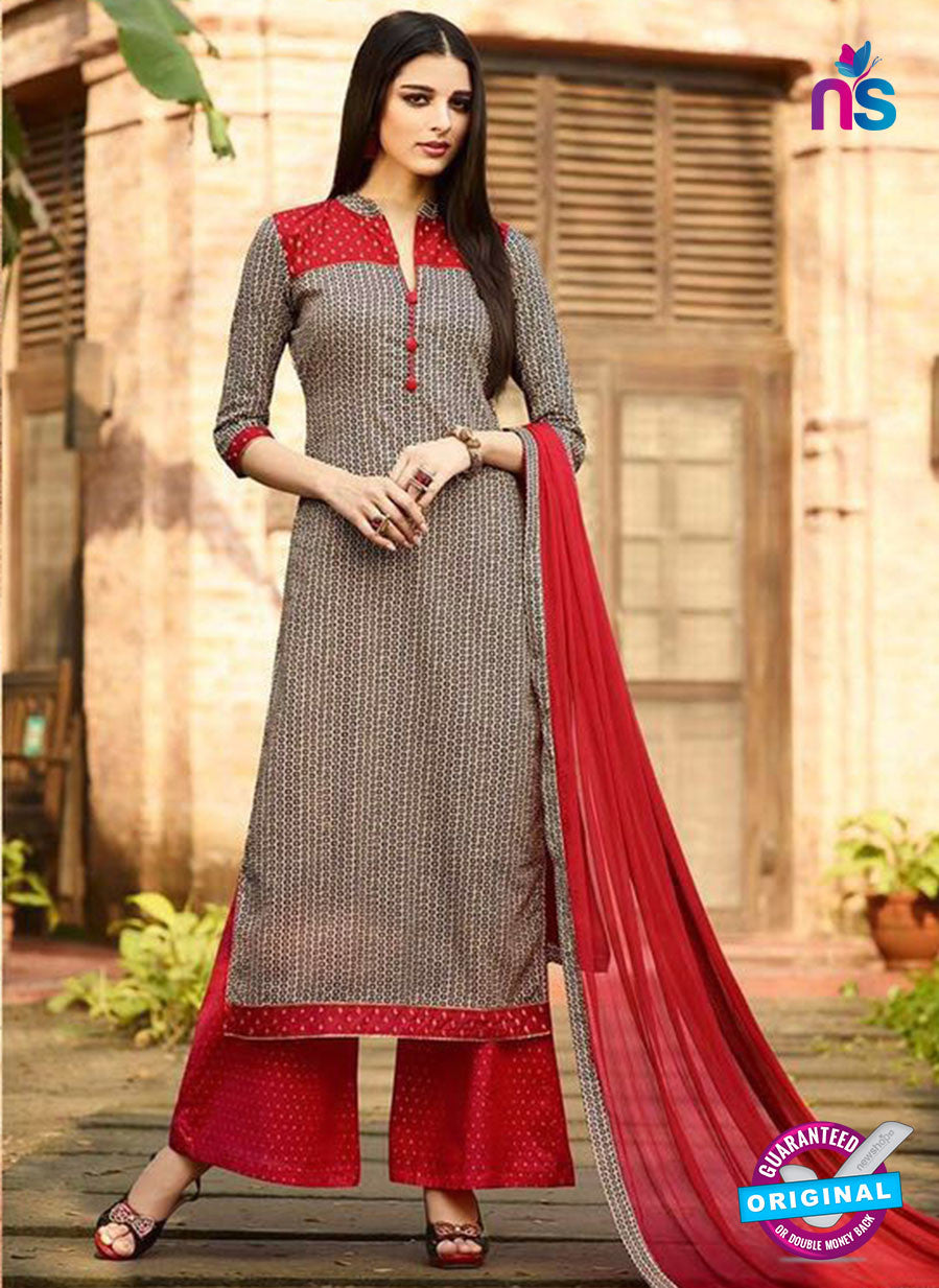 Omtex 1142 - Gray and Red Color Lawn Cotton Designer Suit