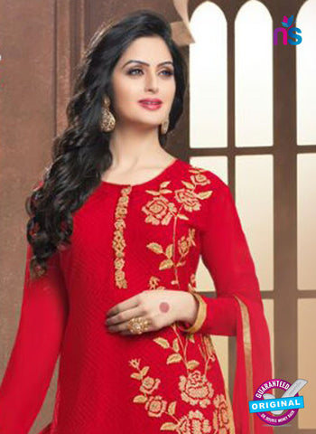 SC 14360 Red Georgette Designer Straight Suit