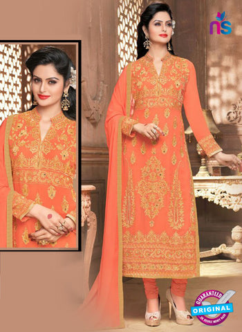 SC 14363 Orange Georgette Designer Straight Suit