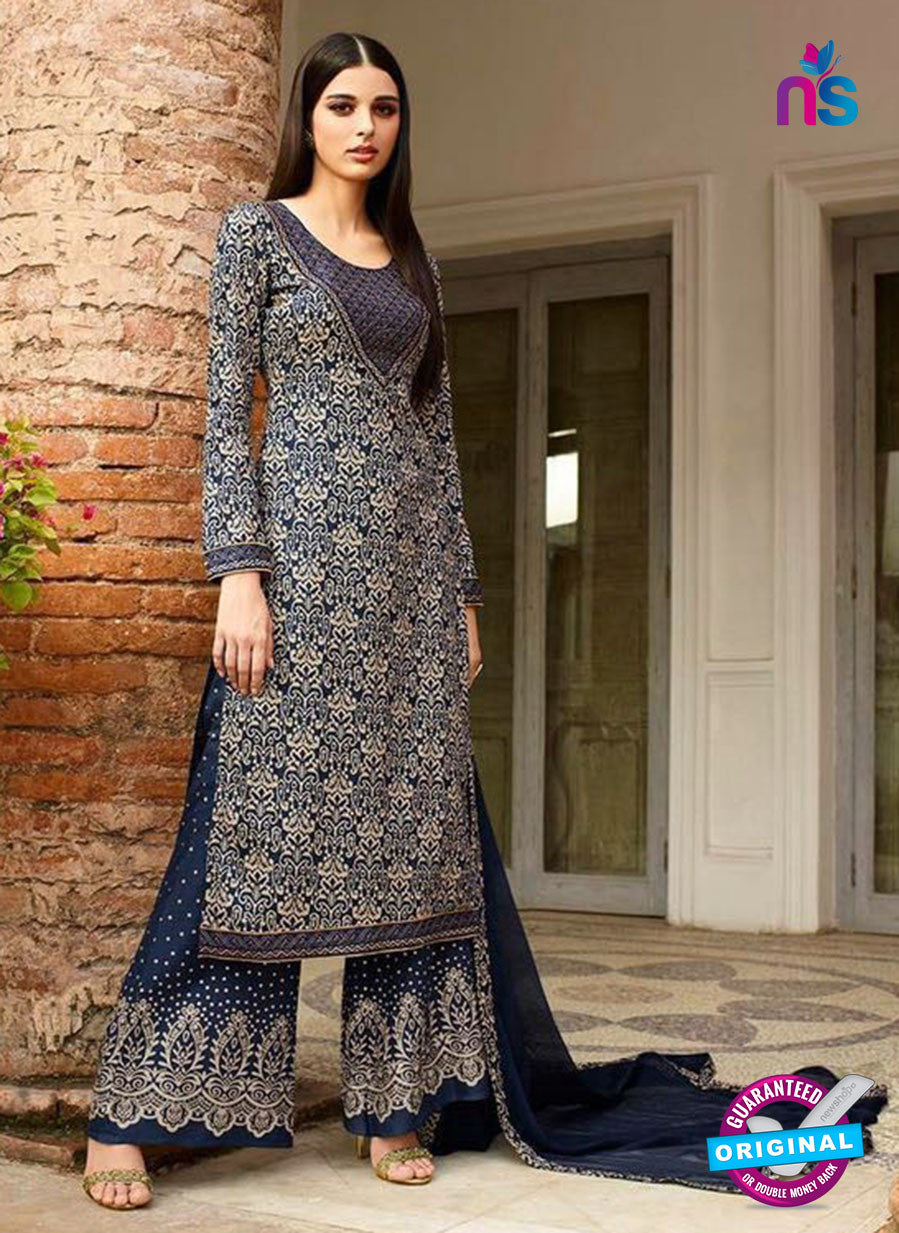 Omtex 1146 - Blue and Gray Color Lawn Cotton Designer Suit