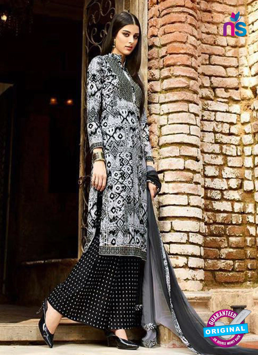 Omtex 1147- White and Black Color Lawn Cotton Designer Suit