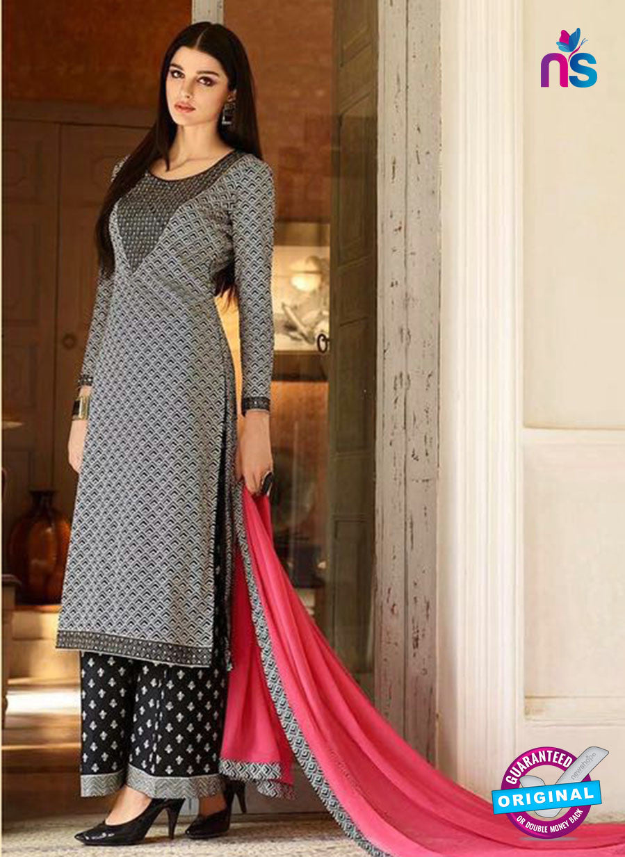 Omtex 1148- Gray and Black Color Lawn Cotton Designer Suit