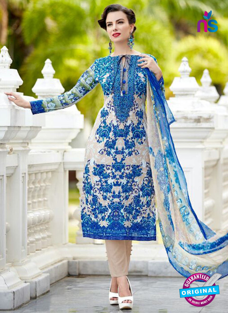 SC 12566 Blue and Beige Digital Printed Lawn Cotton with Embroidered Party Wear Pakistani Suit