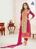NS11239 Beige and DarkMagenta Party Wear Georgette Straight Suit
