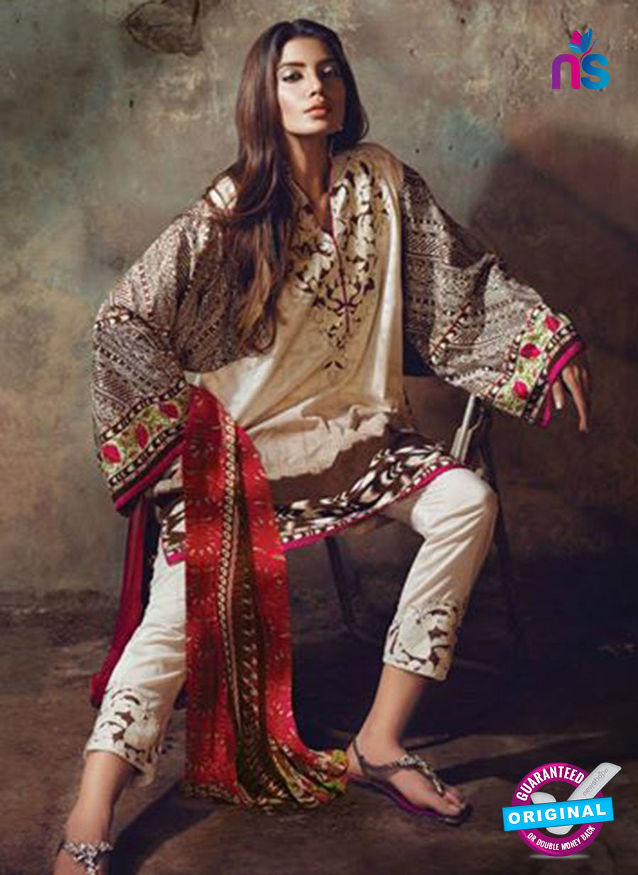 NS11591 A Cream and Brown Mid Summer Wear Designer Suit