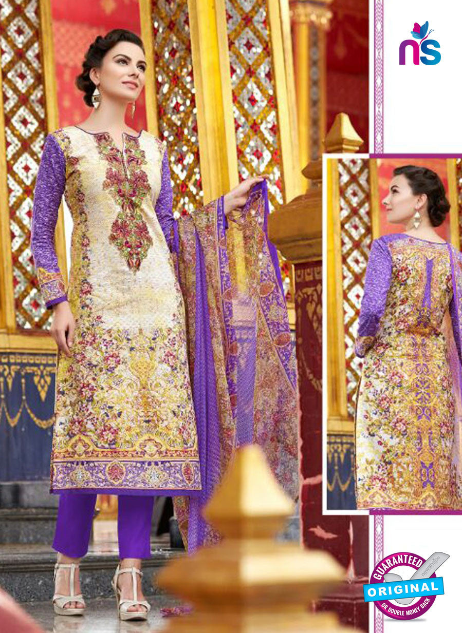 SC12662 Beige and Purple Lawn Cotton Embroidered  Suit