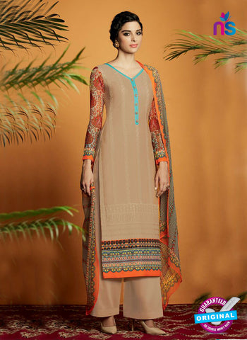 Beige Cotton Satin Fancy Designer Plazo Suit