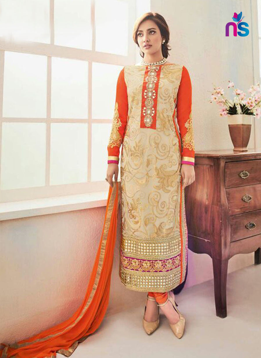 NS11240 SandyBrown and Orange Party Wear Georgette Straight Suit