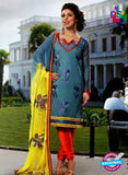Buy NS11602  Blue Color Self Cotton Designer Suit